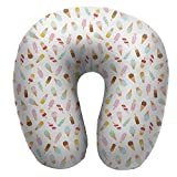 """Anyangeight Travel u-Shaped Pillow,11.8""""x11.8"""" Cartoon Doodle Style Creamy Delicious Diary Desserts with Various"""