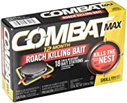 Combat Max 12 Month Roach Killing Bait, Small Roach Bait Station, Child-Resistant, 18 Count