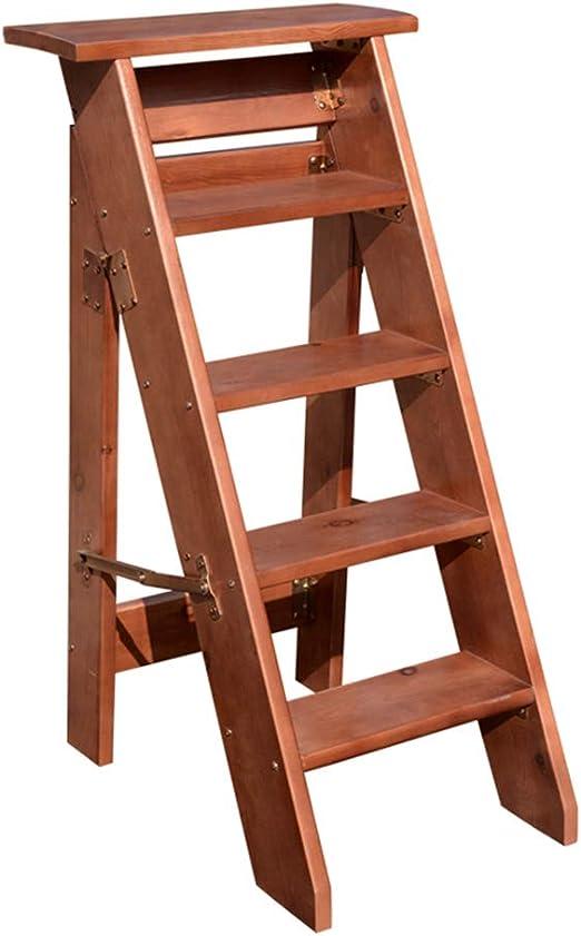 Escaleras Plegables de 5 escalones, Taburete de Madera para escaleras de Tijera, sillas de Escalera para el hogar y la Biblioteca, escaleras de Tijera para Servicio Pesado Máx. 300kg / 660lbs: Amazon.es: