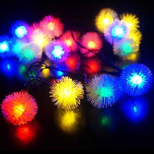 - SWE Solar Christmas Lights 4.8m 20 LED Chuzzle Ball Multi-color Outdoor Solar String Lights Decorative Christmas Wedding Party