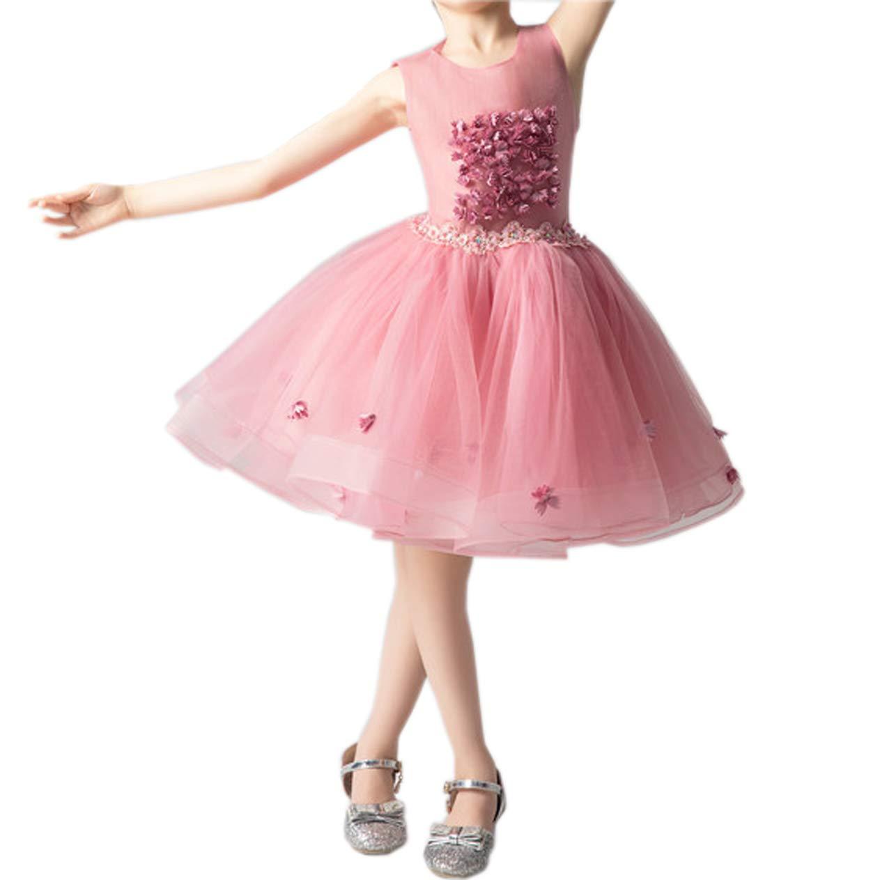 rose  Robes Fille Pettijupe De Mariage Fille Fleur Fille Anniversaire Fête Jupe De Ballet 3-14 Ans