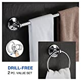 Hotelspa Insta Mount Bathroom Accessories 2 Pc Value Set (18' Towel Bar and Towel Ring) Free Holiday Bonus. Great Back To School/Dorm/Housewarming Gift