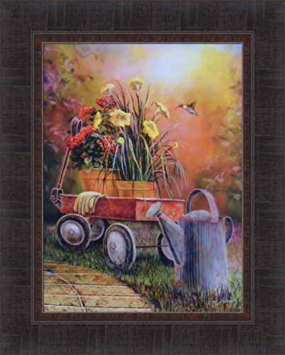Summer Blooms by Jim Hansel 17x21 Old Red Wagon Antique Watering Can Flowers Pots Gardening Hummingbird Framed Art Print Picture