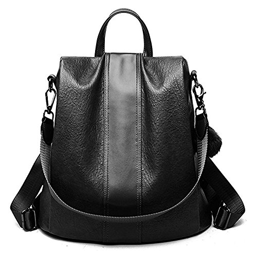 ZUNIYAMAMA Casual Purse Fashion School Leather Backpack Crossbady Shoulder Bag Mini Backpack for Women & Teenage Girls black waterproof by ZUNIYAMAMA