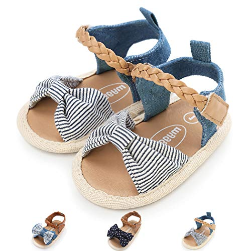 Baby Girl Sandals Anti-Slip Sole Summer First Walkers Newborn Shoes Infant Sandals Girls(12-18 Months M US Toddler,A-Stripe White)