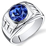 Mens 5.50 Carats Created Blue Sapphire Ring Sterling Silver Size 9