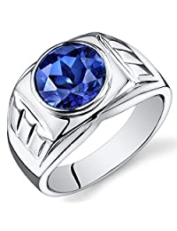 Mens 5.50 Carats Created Blue Sapphire Ring Sterling Silver Sizes 8 To 13