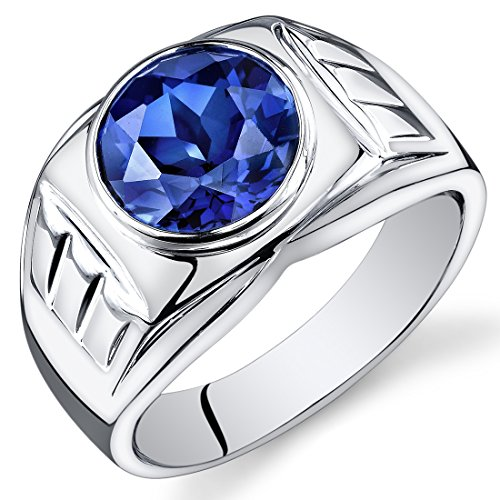 Mens 5.50 Carats Created Blue Sapphire Ring Sterling Silver Size 10 (Sapphire Created Band)