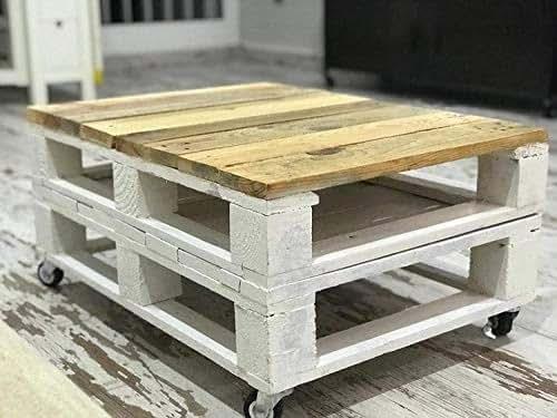 Dydaya Mesa de palets con Ruedas – Mesita Auxiliar & Centro Hecha con Madera de pallets para Salon & Jardin, terraza, DIY - Estilo Rustico, nórdico, ...