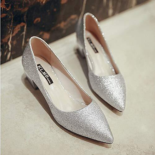 QOIQNLSN Zapatos De Mujer PU (Poliuretano) Comodidad Verano Tacones Bajo El Talón Señaló Toe Negro/Plata / Rosa Silver