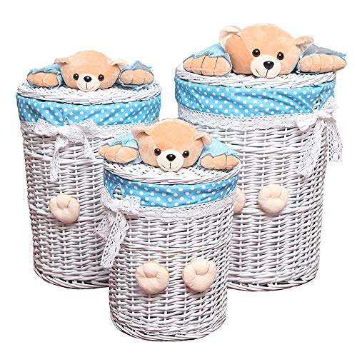 Storage organization Storage basket - wicker storage basket rattan dirty clothes storage basket Multipurpose decorative Storage Containers (Color : White) (Wicker And Between Furniture Rattan Difference)