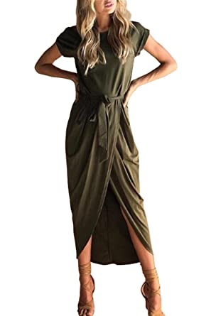 7028d4ab8 Herose Petite Curvy Ladies Solid Color Pullover Dress One Piece Outfit XS  Army Green