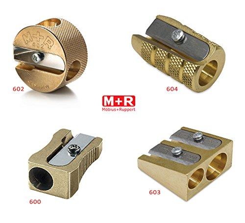 (Mobius + Ruppert (M+R) Brass Artists Pencil Sharpener - choose from 4 shapes! Made in Germany - finest in the world! (603 - Double Wedge))