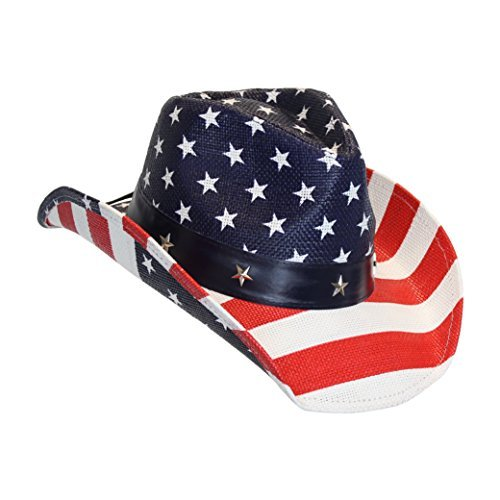 USA American Flag Straw Cowboy Hat w/ Shapeable Brim, Red, White, Navy Blue -