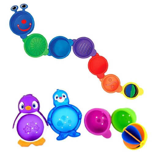 Munchkin Caterpillar Spillers Stacking Cups & Lazy Buoys Baby Bath Toys (Munchkin Lazy Buoys Bathtub Toys)