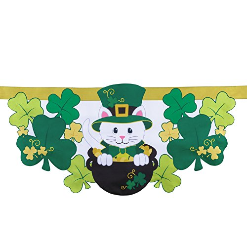 (Collections Etc St. Patrick's Shamrock Cat Fence Banner)