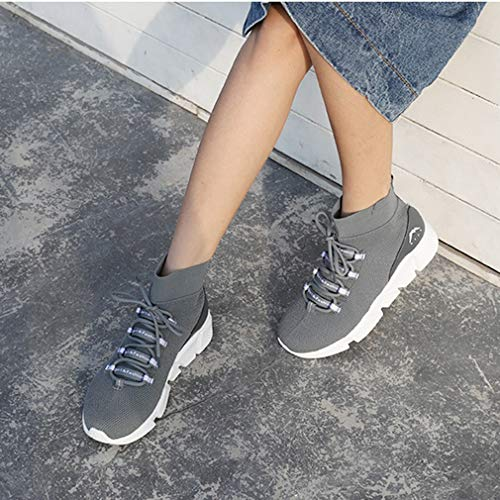 Spring Platform Yan Donna Fall amp; Calzini High Scarpe Stretch Invisible Grigio Stivali Highening Da Knit Casual Sneakers Shoes top SqHWwqIT