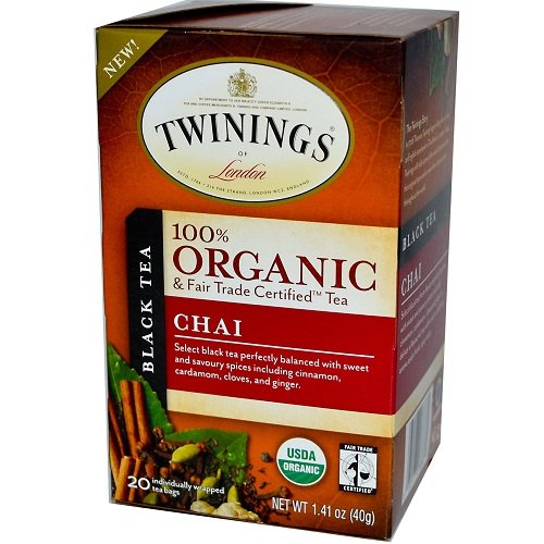 Twinings of London Organic and Fair Trade Certified Chai Tea Bags, 20 (Certified Organic Assam Tea)
