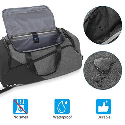 Tolaccea 48L Gym Tasche Reisetasche mit Rucksackfunktion Herren Fitness Bag Trainingstasche mit Schuhfach & Nassfach wasserdichte Reisetasche für Training,Fitness,Vaction,Schwimmen,Schule,Yoga