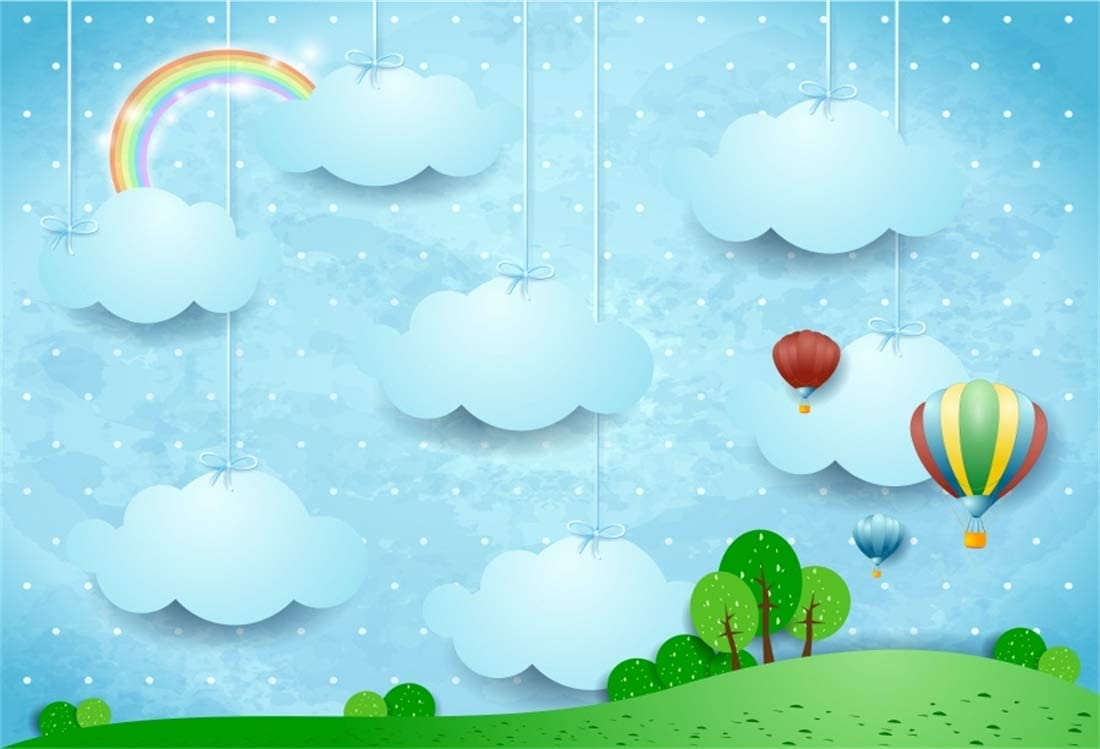 Yeele Hot Air Balloon Backdrop 10x10ft Blue Sky and White Cloud Photography Background Kids Birthday Party Decoration Infant Newborn Baby Shower Party Photobooth Props Digital Wallpaper