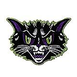 Scary Black Cat Patch Kreepsville Feline Face Halloween Craft Iron-On Applique