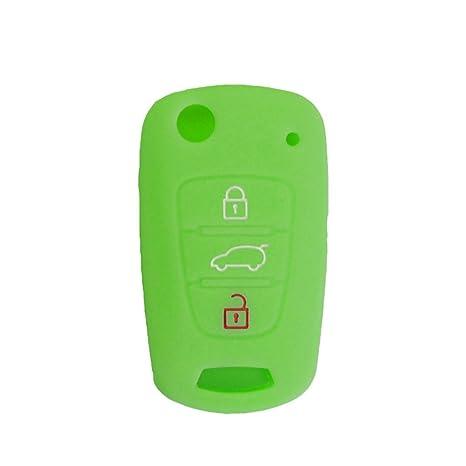Nicky Brillante verde claro Funda de Silicona para Hyundai Kia 3 Botones Llave Plegable Cubierta de Control Remoto Automático