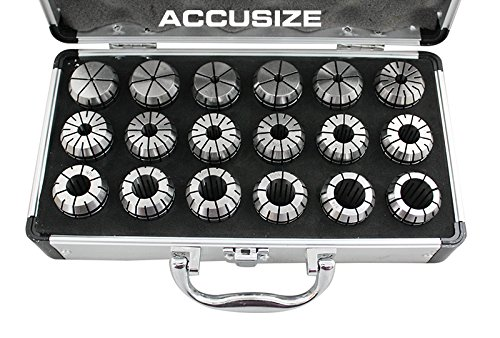 AccusizeTools - 18 Pcs ER32 Collet Set 3/32'' to 25/32'' in Fitted Strong Box, #0223-0880 by Accusize Industrial Tools