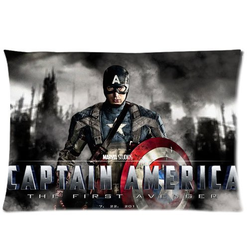 Captain America Anime Comic Cartoon Hero Steve Rogers With Shield Cool Personalized Custom Soft Rectangle Pillow Case Cover 20X30 (One Side)