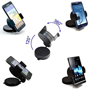 SOPORTE UNIVERSAL DE VEHICULO PARA MOVIL/GPS/PDA/MP3/MP4, CON ROTACION 360º PARA GALAXY S3, GALAXY NOTE, GALAXY S2, XPERIA S, XPERIA P, HTC ONE X, HTC ONE S, GALAXY NOTE 2, IPHONE 4/4S, IPHONE 5, LG OPTIMUS, ETC...