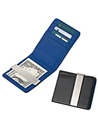 MGStyle Credit Card Money Clip Front Pocket Wallet - Stainless Steel & Leather - Blue & Black & Silver Tone - Minimalist for Men Or Women with Deluxe Gift Box