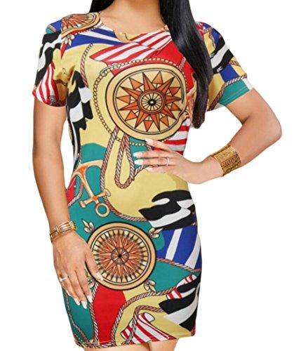 Sleeve Short Red Club Bodycon Stylish Domple Print Dress Womens Vintage Mini qwnAxI4U