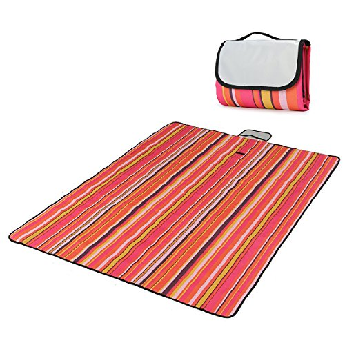Outdoor Picnic Blanket , LOPEZ Multi-purpose Folding Portable Waterproof and Sandproof Beach Blanket & Mats Picnic Rug,Baby Crawling Mat/Child Play Mat for Camping Hiking Travel BBQ -Red Stripe (Mat Baby Play Travel)