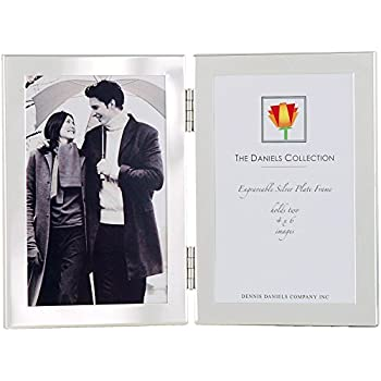 Dennis Daniels Hinged Double Vertical Elegant 1/2 Inch Engraveable Metal Picture Frame, 4 x 6 Inches, Silver