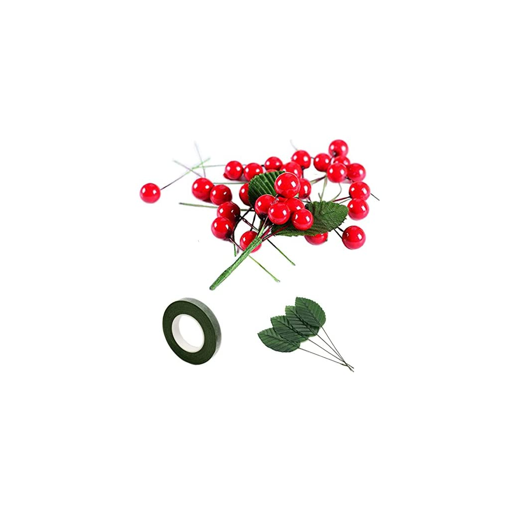 200-Pcs-Artificial-Small-Berries-Red-Cherry-100-Pcs-Fake-Green-Leaves-with-1-Roll-Floral-Tape-for-Christmas-Tree-DIY-Gift-Decorative
