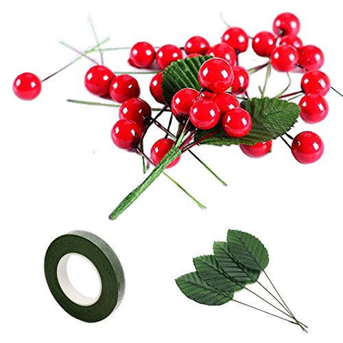 200 Pcs Artificial Small Berries Red Cherry 100 Pcs Fake Green Leaves with 1 Roll Floral Tape for Christmas Tree DIY Gift Decorative - Small Red Cherry