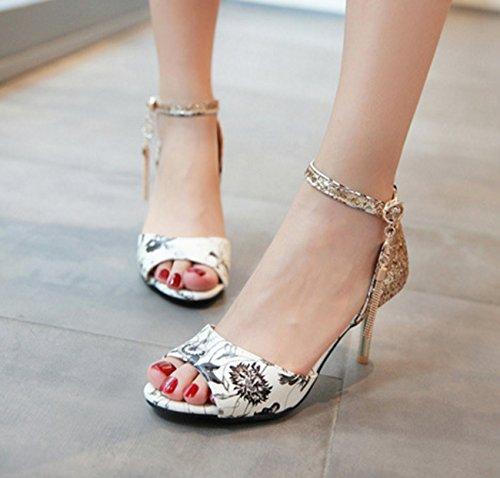 Shoes Women's Party SHINIK Fall amp; PU For Peep Buckle Black Novelty Synthetic Microfiber Toe Evening Wedding Summer Stiletto Comfort Heel Sandals Black FqqT5d