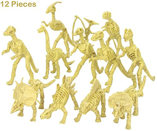 Assorted Dinosaur Fossil Skeleton Toys - 6-7 Inch Figures -12 Piece- For Kids, Boys, Girls, Pretend, Play Time, Games, Party, & Prizes - Kidsco…
