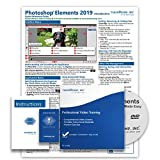 Learn Adobe Photoshop Elements 2019 DELUXE Training Tutorial Package Video Lessons, PDF Instruction Manuals, Printed and Laminated Quick Reference ... Materials, and Certificate of Completion