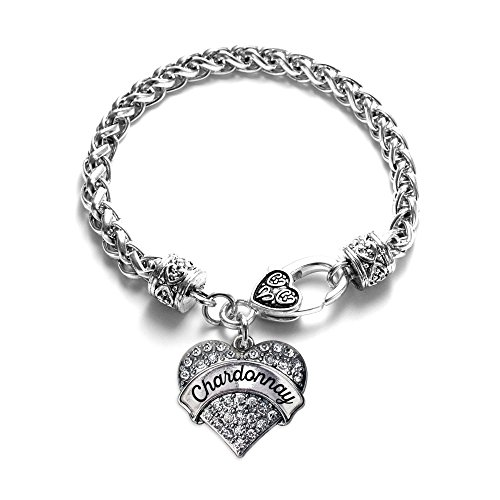 Chardonnay Silver - Inspired Silver - Chardonnay Braided Bracelet for Women - Silver Pave Heart Charm Bracelet with Cubic Zirconia Jewelry