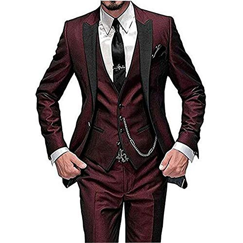 One Button 3 Pieces Burgundy Wedding Suits Notch Lapel Mens Suits Groom Tuxedos ()