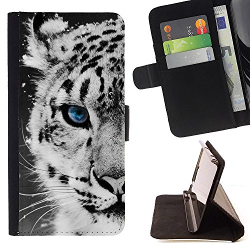 Leopard Ipod Case (- Snow Leopard Winter Cub Puppy Baby/ Personalized Design Custom Style PU Leather Case Wallet Flip Stand - Cao - For Apple iPod Touch 6 6th Generation)