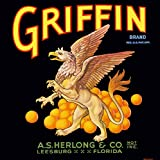 Leesburg, Florida - Vintage Griffin Brand Orange Citrus Fruit Crate Box Label Travel Advertising Art Print. Label Print Measures 10 x 10 inches