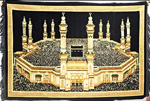 (Turkish Islamic Tapestry Plush Velvet Wall Decor - Holy Kaaba Mecca Design Large Size)