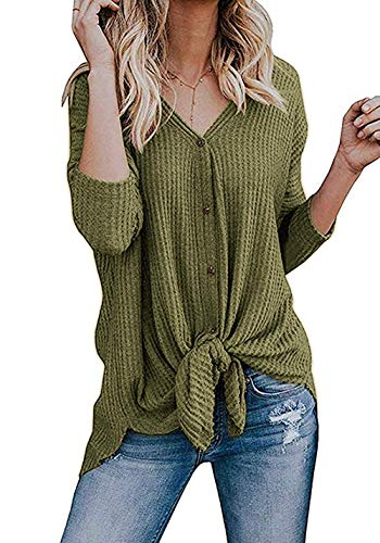 Chuhee Women's S-3XL Button Down Blouse Shirt Tie Knot Thermal Tops Olive M ()