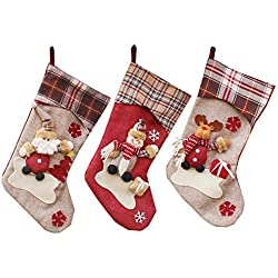 YAMUDA Big Size Christmas Stockings, 3 Pcs Set Classic Xmas Stocks for Decoration Kids Gift Holding Stocking Tree Ornament