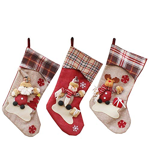 YAMUDA Big Size Christmas Stockings, 3 Pcs Set Classic Xmas Stocks for Decoration Kids Gift Holding Stocking Tree Ornament