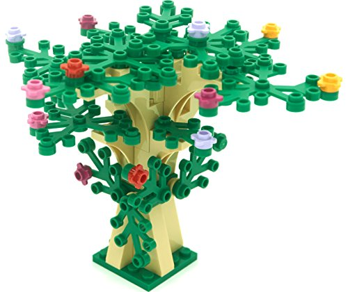 LEGO Custom Creative Tree Kit 3 (Tan with 16 Green Leaves and 15 Flowers)
