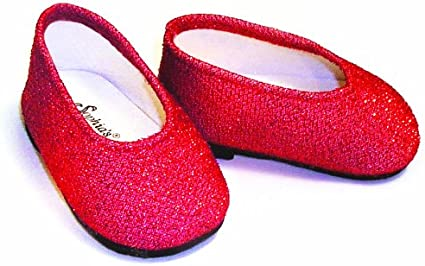 Red Glitter Slip On Shoes fits American Girl Doll