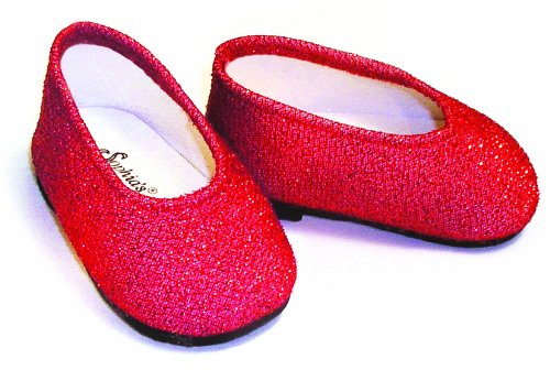 Red Glitter Dress Doll Shoes, Fits 18 Inch American Girl Dolls and More! 18 Inch Doll Accessories of Red Glitter Doll Shoes -