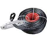 95ft x 3/8'' BLACK Synthetic Winch Rope Cable 20500lbs with Heat Guard Protective Sleeve + 10'' Mount CHROME Polished Hawse Fairlead For Jeep Truck KFI Ramsey